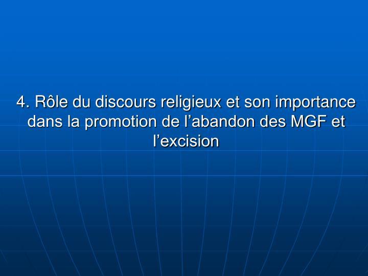 4. Rôle du discours religieux et son importance dans la promotion de
