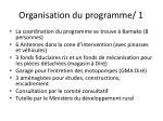 organisation du programme 1