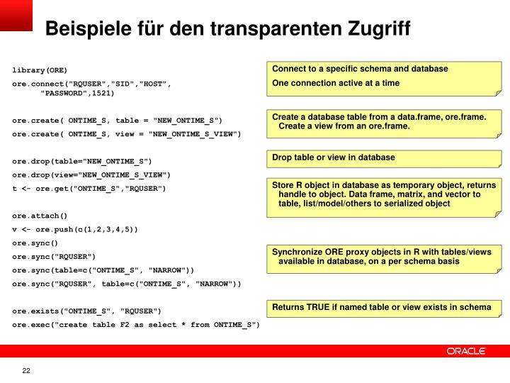 Beispiele für den transparenten Zugriff
