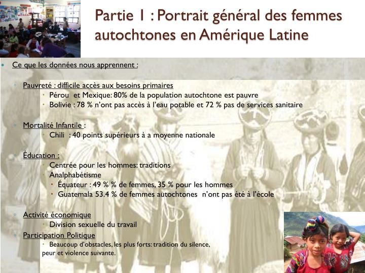 Partie 1 : Portrait général des femmes autochtones en Amérique Latine