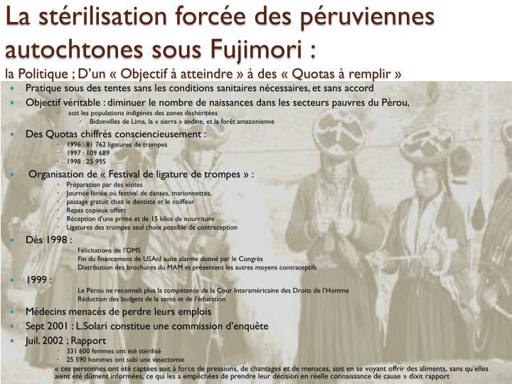 La stérilisation forcée des péruviennes autochtones sous Fujimori :