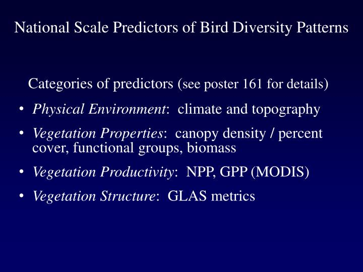 National Scale Predictors of Bird Diversity Patterns
