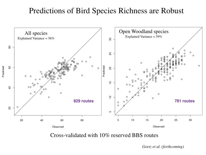 Predictions of Bird Species Richness are Robust
