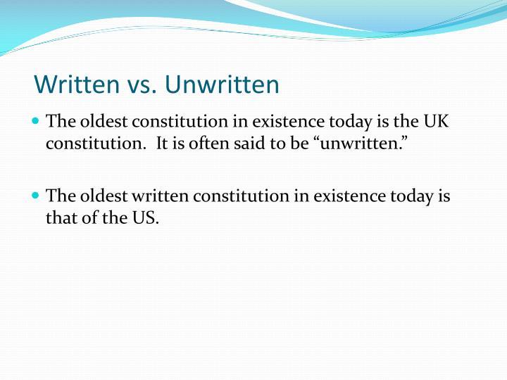 written vs unwritten constitution
