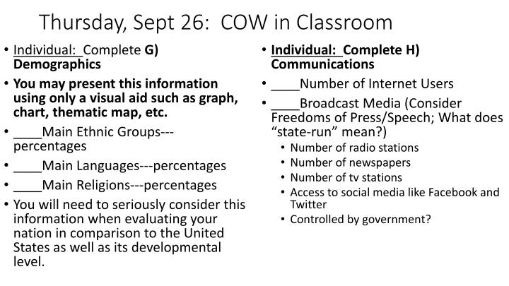 Thursday, Sept 26:  COW in Classroom
