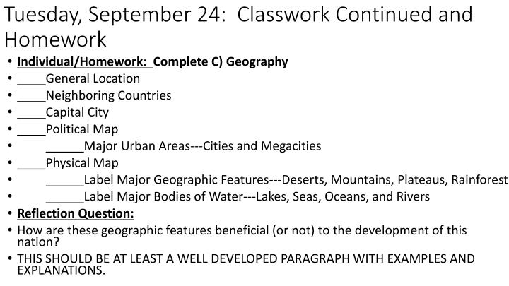 Tuesday, September 24:  Classwork Continued and Homework