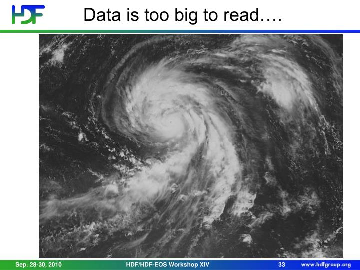 Data is too big to read….