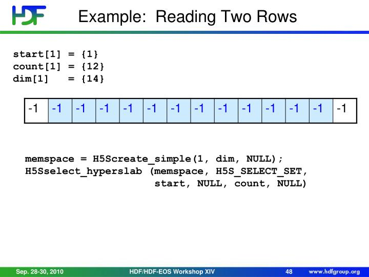 Example:  Reading Two Rows