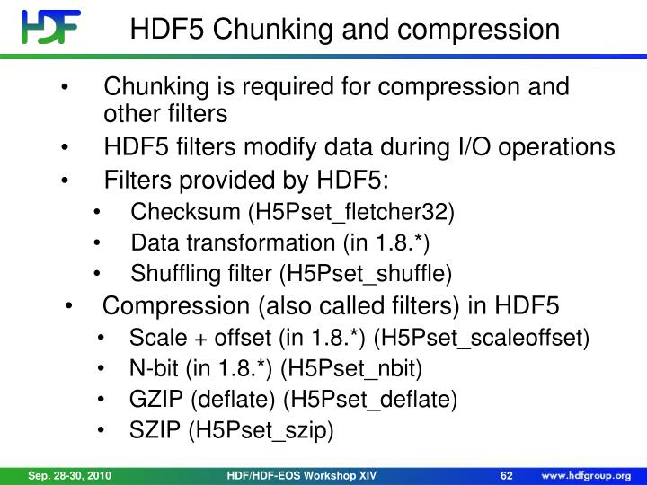 HDF5 Chunking and compression