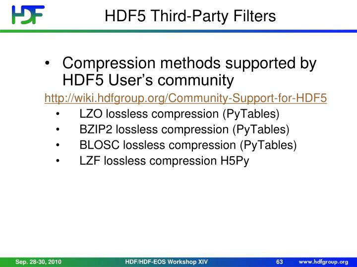 HDF5 Third-Party Filters