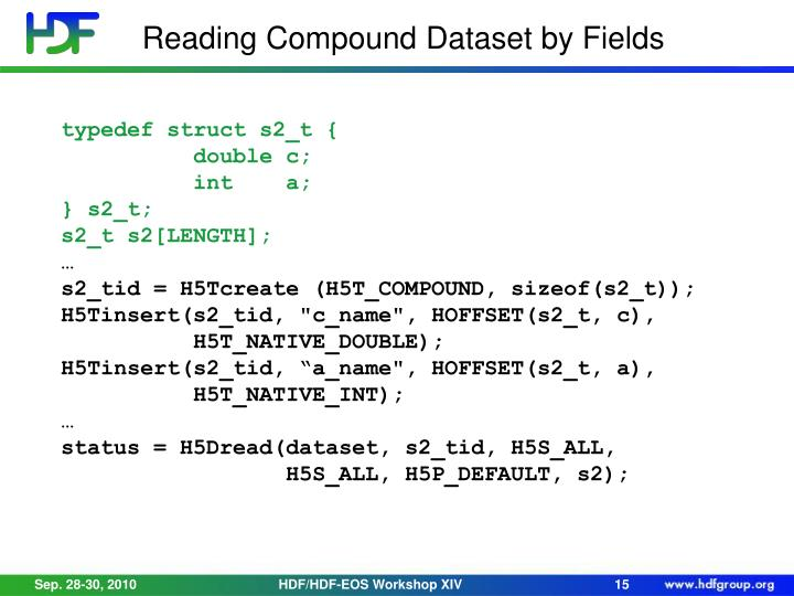 Reading Compound Dataset by Fields