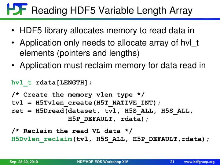 Reading HDF5 Variable Length Array