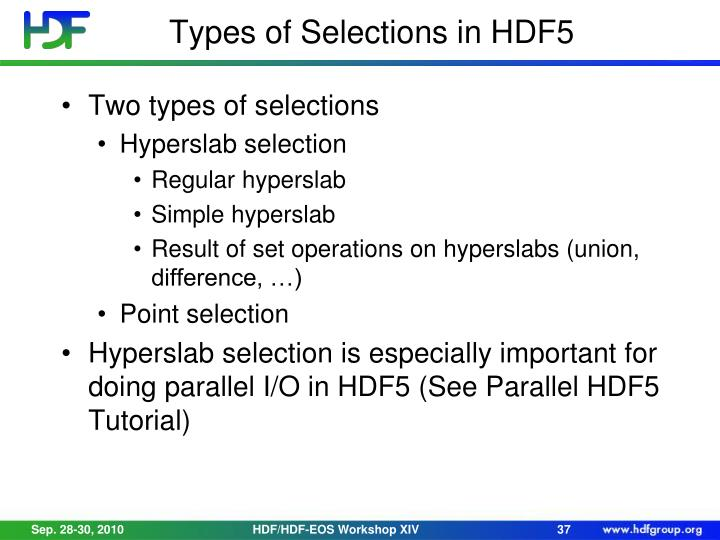 Types of Selections in HDF5
