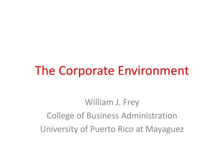 the corporate environment n.