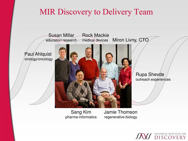 MIR Discovery to Delivery Team