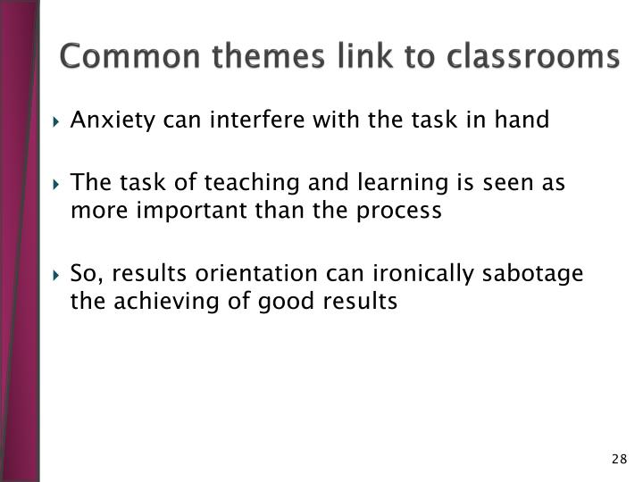 Common themes link to classrooms