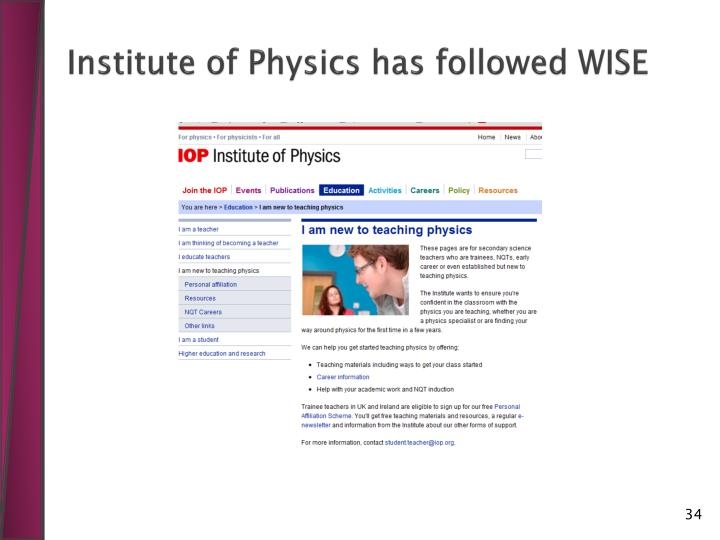 Institute of Physics has followed WISE