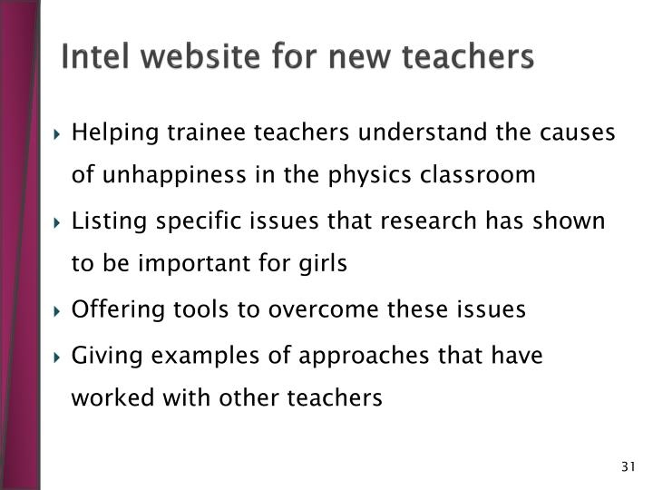 Intel website for new teachers