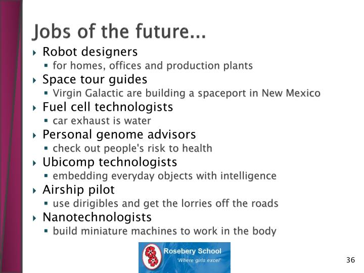 Jobs of the future...