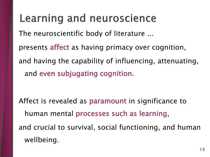 Learning and neuroscience