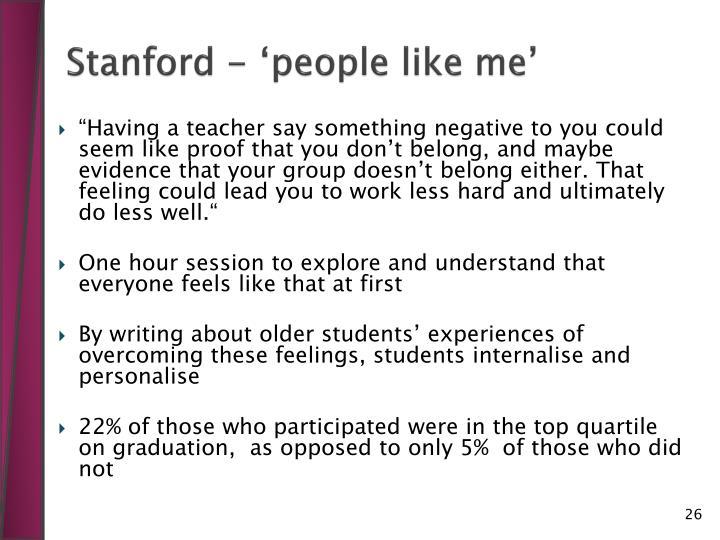 Stanford - 'people like me'