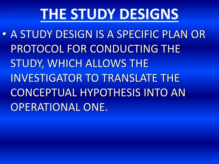 the study designs n.