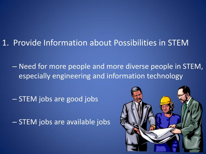 1.  Provide Information about Possibilities in STEM