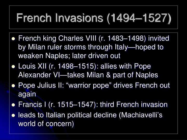 French invasions 1494 1527