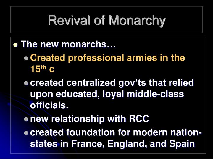 Revival of Monarchy