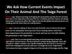 we a sk how current events impact o n their a nimal a nd t he taiga forest
