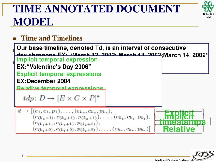 TIME ANNOTATED DOCUMENT MODEL