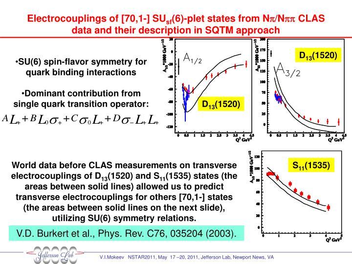 Electrocouplings of [70,1-] SU