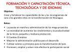 formaci n y capacitaci n t cnica tecnol gica y de idiomas