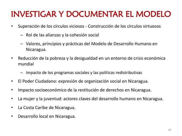 INVESTIGAR Y DOCUMENTAR EL MODELO