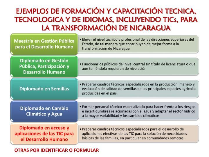 EJEMPLOS DE FORMACIÓN Y CAPACITACIÓN TECNICA, TECNOLOGICA Y DE IDIOMAS, INCLUYENDO