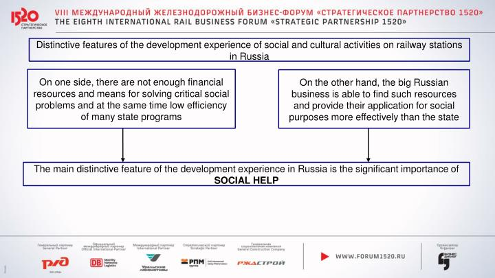 Distinctive features of the development experience of social and cultural activities on railway stations in Russia