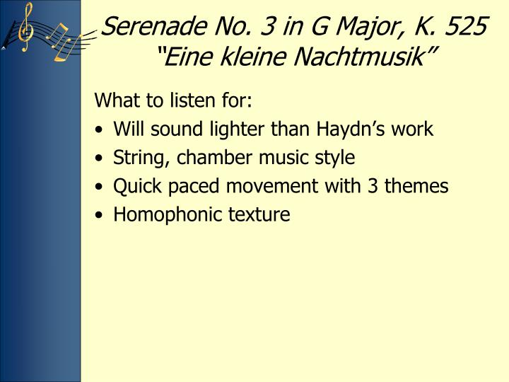 """Serenade No. 3 in G Major, K. 525 """""""