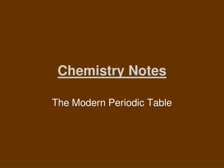 the modern periodic table n.