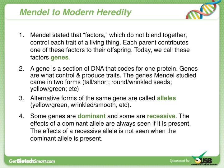 Mendel to Modern Heredity