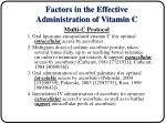 factors in the effective administration of vitamin c18
