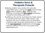 oxidative stress therapeutic protocols