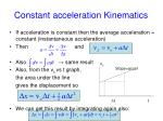 constant acceleration kinematics