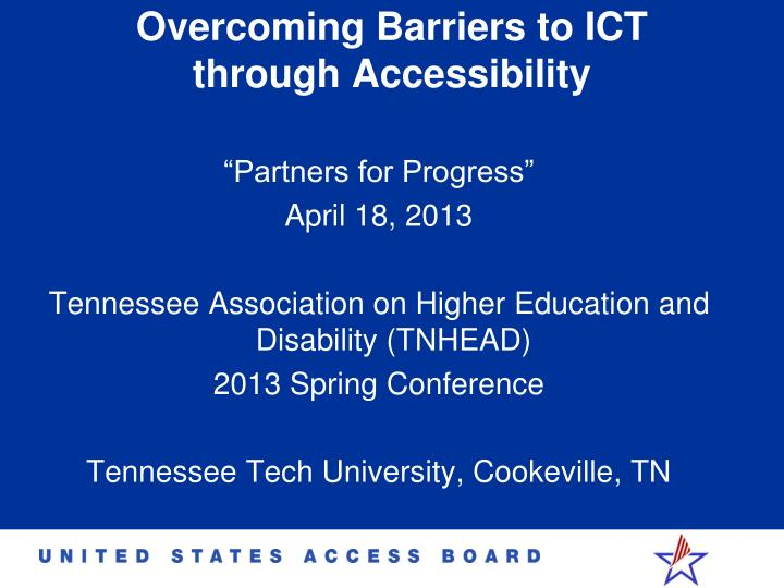 overcoming barriers to ict through accessibility n.
