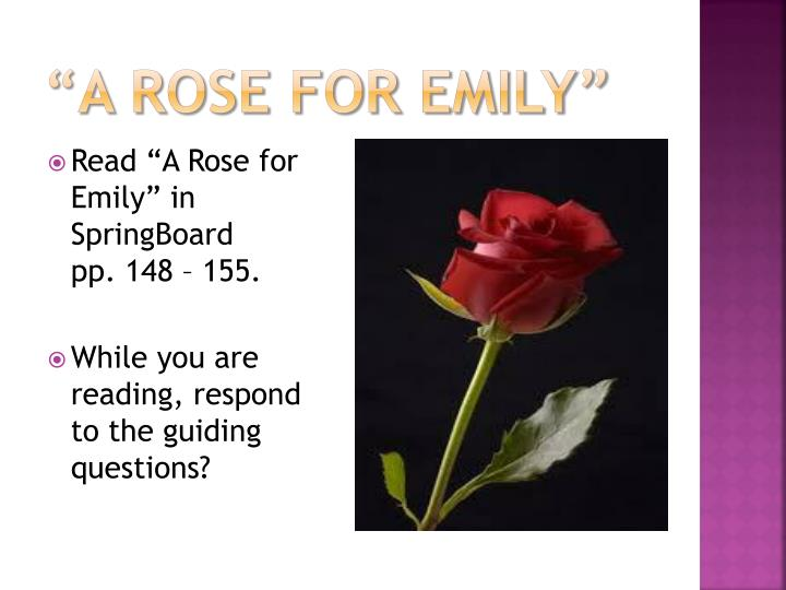 narrator in a rose for emily Because a rose for emily is narrated in retrospect, this description of miss emily's relationship with the town possesses a kind of foreshadowing not always present in stories narrated as the action unfolds each word takes on added meaning given that the narrator already know about homer.