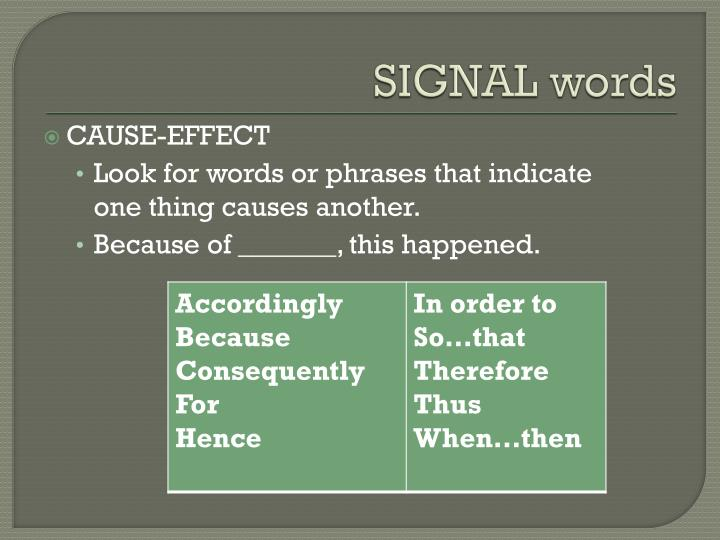 cause effect signal words and phrases