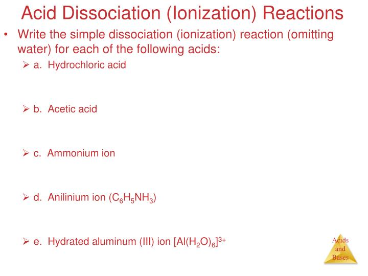Acid Dissociation (Ionization) Reactions