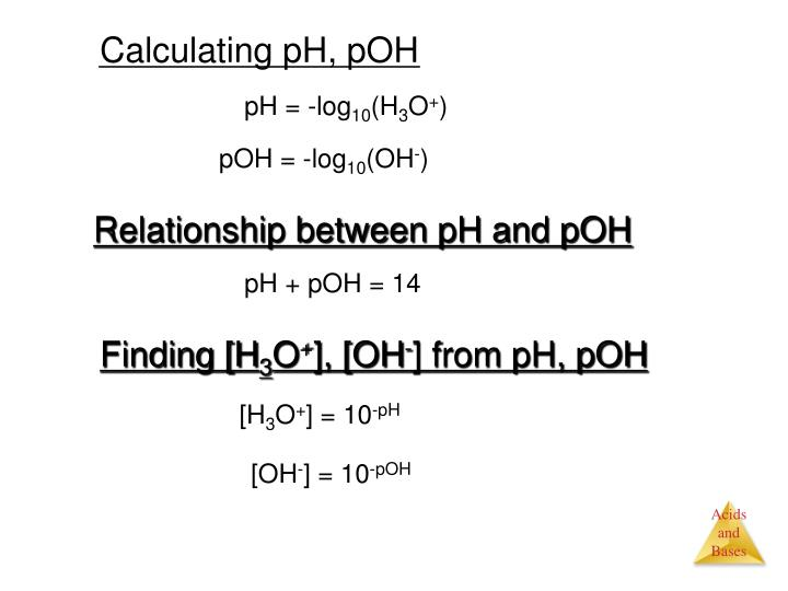 Calculating pH, pOH