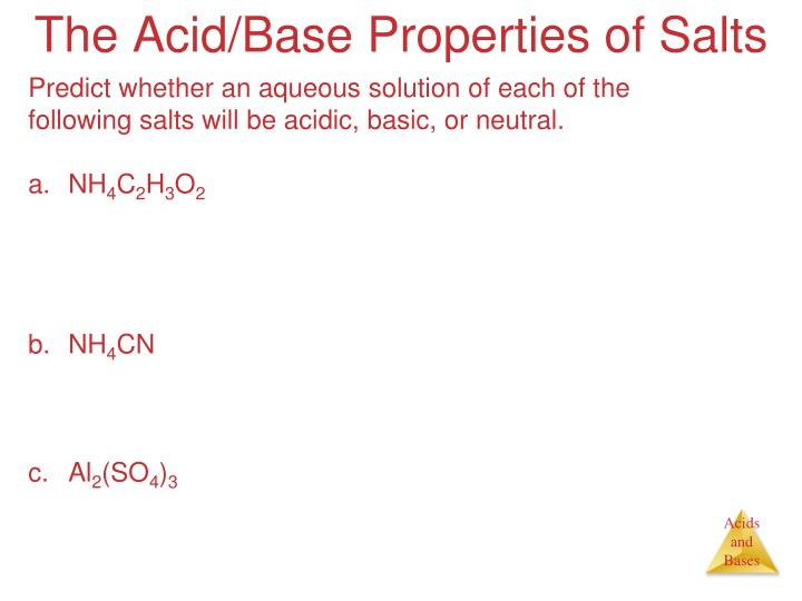 The Acid/Base Properties of Salts