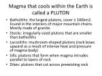 magma that cools within the earth is called a pluton