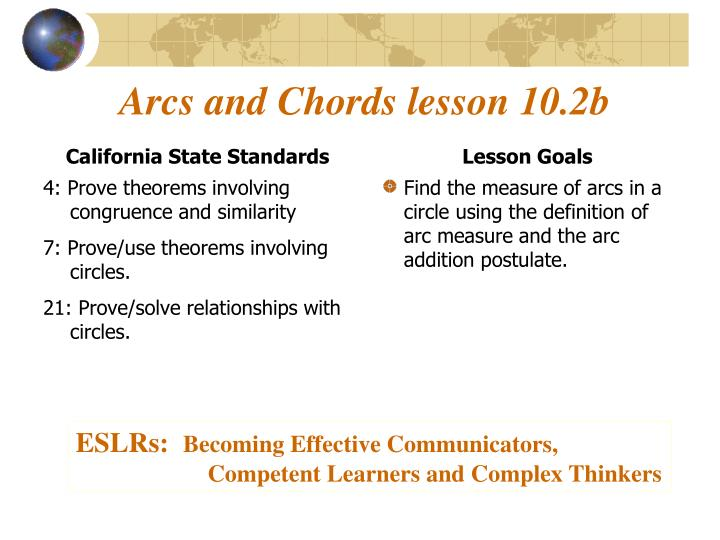 PPT - Arcs and Chords lesson 10 2b PowerPoint Presentation - ID:2276549